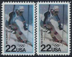 """2369 - 22c Multiple Error / EFO Color Shift & Color Variety """"1988 Olympics"""" MNH"""
