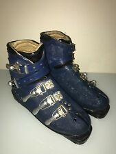 Mid Century Mod Era Nordica Ski Blue Leather Metal Clamps Boots vtg C 1950s-60s