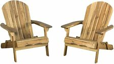 Folding Wood Adirondack Outdoor Patio lounge Chair Accent Furniture Set Of 2