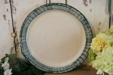 Three Rivers Pottery Round Platter Cake Serving Plate Concave Green Sponged Rim