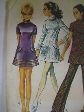 Vintage 60's Simplicityn 8463 SIDE-ZIP MOD PANTS MINI DRESS Sewing Pattern Women