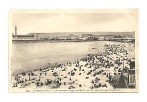 CHERBOURG FRANCE 'New' Harbour Station & Beach Vtg B&W