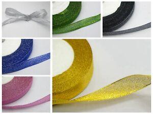 "50 Yards 3/8"" (10mm) Metallic Organza Ribbon Wedding Christmas Gift Wrap Craft"