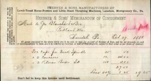 1881 Lansdale Pennsylvania (PA) Heebner & Sons