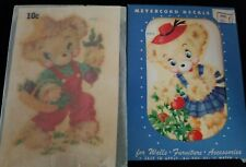 Pair of Vintage Meyercord Transfer Decals 870 D & E Gardening Bears Boy Girl Nos