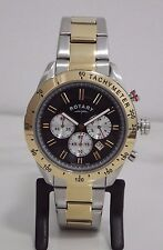 NEW Rotary Men's GB03429/20 Two-Tone Chronograph Swiss Bracelet Watch RRP £229/-