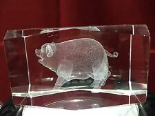 3D Laser Etched Crystal Glass Cube Pig Piglet Farm Animal Paperweight