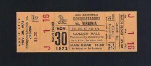 VINTAGE 1973 ABA VIRGINIA SQUIRES SAN DIEGO CONQUISTADORS FULL BASKETBALL TICKET