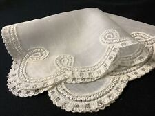 #6403🌟Vintage Linen Netted Needle Lace Wedding Handkerchief Heirloom