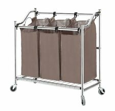 3-Section Heavy-Duty Steel Rolling Laundry Sorter with Coating Frame