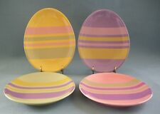 Easter Appetizer Plates Set Of 4 Oval Stripes Colorful Holiday Department 56