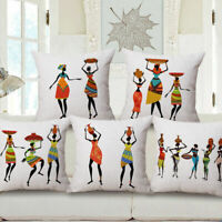 "18"" Home Cotton Linen Car Bed Sofa Waist Cushion Pillow Case Cover African Women"