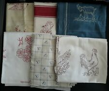 Assorted Red Work & Embroidery Screen Prints, Various Sizes, 10.5 Yards Total