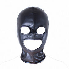Faux Leather Full Head Zip Back Eyes Mouth Holes Hood