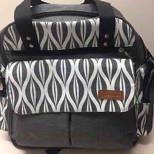 Lekebaby Gray W/ White Graphic Diaper Bag Backpack Loads Of Pockets EUC