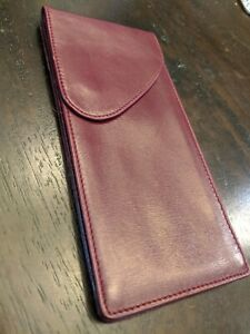 Mark Cross Vintage Red Leather Two Pocket Pouch with Protective Blue Felt Sleeve