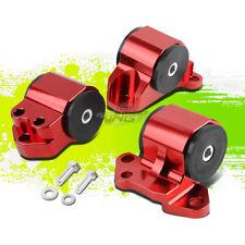 FOR EG EH/DC D15/D16 B16/B18 SWAP RED FULL ALUMINUM 3-BOLT ENGINE MOUNT KIT