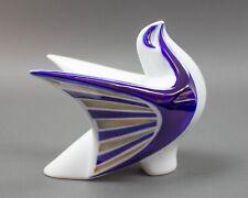 Sargadelos Spain Porcelain Cobalt Gold Bird Figurine Modernist Sculpture Vintage