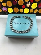 "Tiffany & Co. Sterling Silver Vintage Textured Rolo Bracelet 7.25"" No Hangtag"