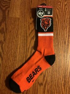 Chicago Bears 47 Brand Unisex Crew Socks - Large - M 9 to 13 - W 10 to 12