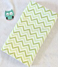Handcrafted, Flannel Green Chevron Print & White Minky Bubble Baby Burp Cloth