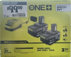 Ryobi PSK006 18V ONE+ Lithium-Ion 4.0 Ah Battery (2-Pack) and Charger Kit New
