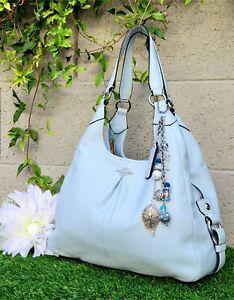 Rare New coach MAGGIE madison soft leather shoulder hobo purse bag carryall aqua