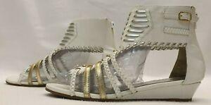 TAMMY Ladies Girls Women Sandals Size 4 EU 37 White Golden Gladiator Wedge Shoes