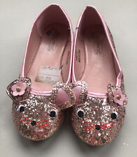 Spot On Pink GLITTER CUTE CAT FACE PARTY FLAT SHOES UK SIZE 1/33