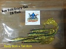 New 8cm Killer Crank Gold Crazy Tail Soft Plastic Fishing Lures Pack