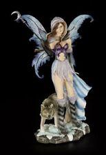 Elfen Figur - Luna mit Mondstab und Wolf - Fantasy Fee Engel Statue