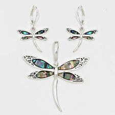 Dragonfly Pendant Earrings SILVER MULTI Abalone Butterfly Tree Leaf Jewelry