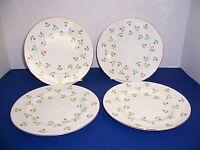 Vintage Royal Victoria of England 4 Salad Dessert Plates Red & Blue Flowers NICE