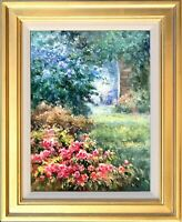 Oil Painting with Gold Frame, Spring Garden Scenery Landscape, Memorable Gift