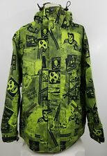 Grenade Misfits All Over Print Hooded Zip Up Ski Jacket Large green 1281