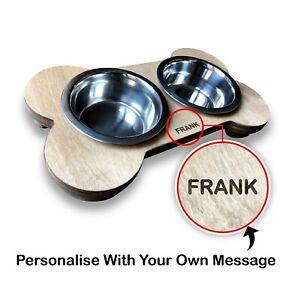 Personalised Wooden Dog Bowl Feeder Dog bowl raised feeder Bone (BONER)(PK3)