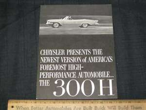 1962 Chrysler 300 H B&W Folder Sales Brochure