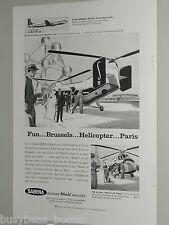 1958 SABENA advertisement Belgium Airlines Sikorsky Vertol heli, '58 Worlds Fair