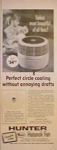 1955 Hunter Hassock Perfect Circle Air Flow Electric Home Fan Girl & Doll AD