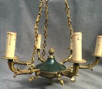 Heavy antique french Empire style chandelier lamp early 1900's gilded bronze