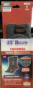 35° Below Thermal Socks Aluminized Fibers Nylon Warming 1 Pair Grey Small/Medium
