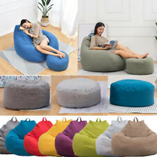Large Beanless Bean Bag Chair Sofa Couch Cover Footstools Lazy Adult Lounger US