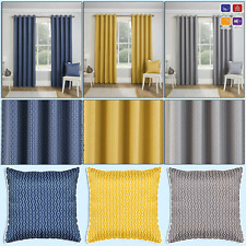MIAMI Geometric Print Thermal Blockout Woven Lined Eyelet/Ring Top Curtains Pair