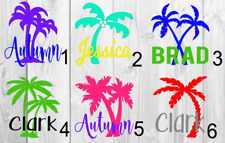 Personalized Palm tree name Vinyl Decal 3x3 A