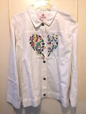 Quacker-Factory-White-Jacket/Top Embroid-Beaded-Heart-1X-2X-NWT