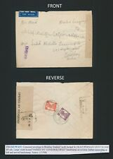 1944 KUWAIT CENSORED COVER WWII TO INDIA 2a+1/2a KGVI, DUAL CENSORED