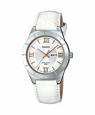 LTP-1410L-7A1 White Casio Ladies Watches Leather Bands Analog New
