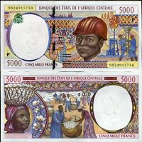 CENTRAL AFRICAN STATES CHAD 5000 5,000 FRANCS 1999 P 604P UNC