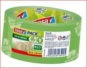 tesa UK 100% Recycled ecoLogo Printed Packaging Tape, 66 m x 50 mm - Green