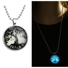 Winter Tree Steampunk Glow In The Dark Pendant Necklace Stainless Steel Chain